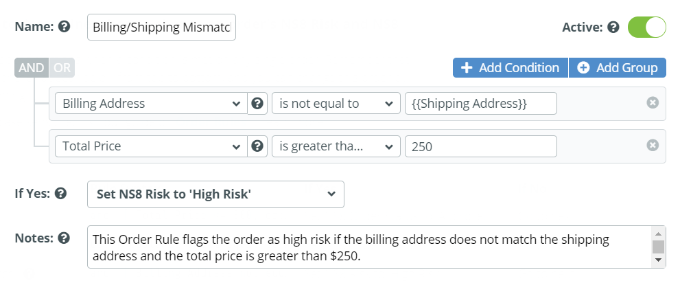 Billing and Shipping Match